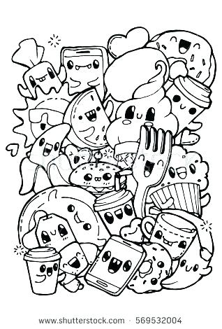 318x470 Cute Food Coloring Pages Cute Food With Faces Coloring Pages
