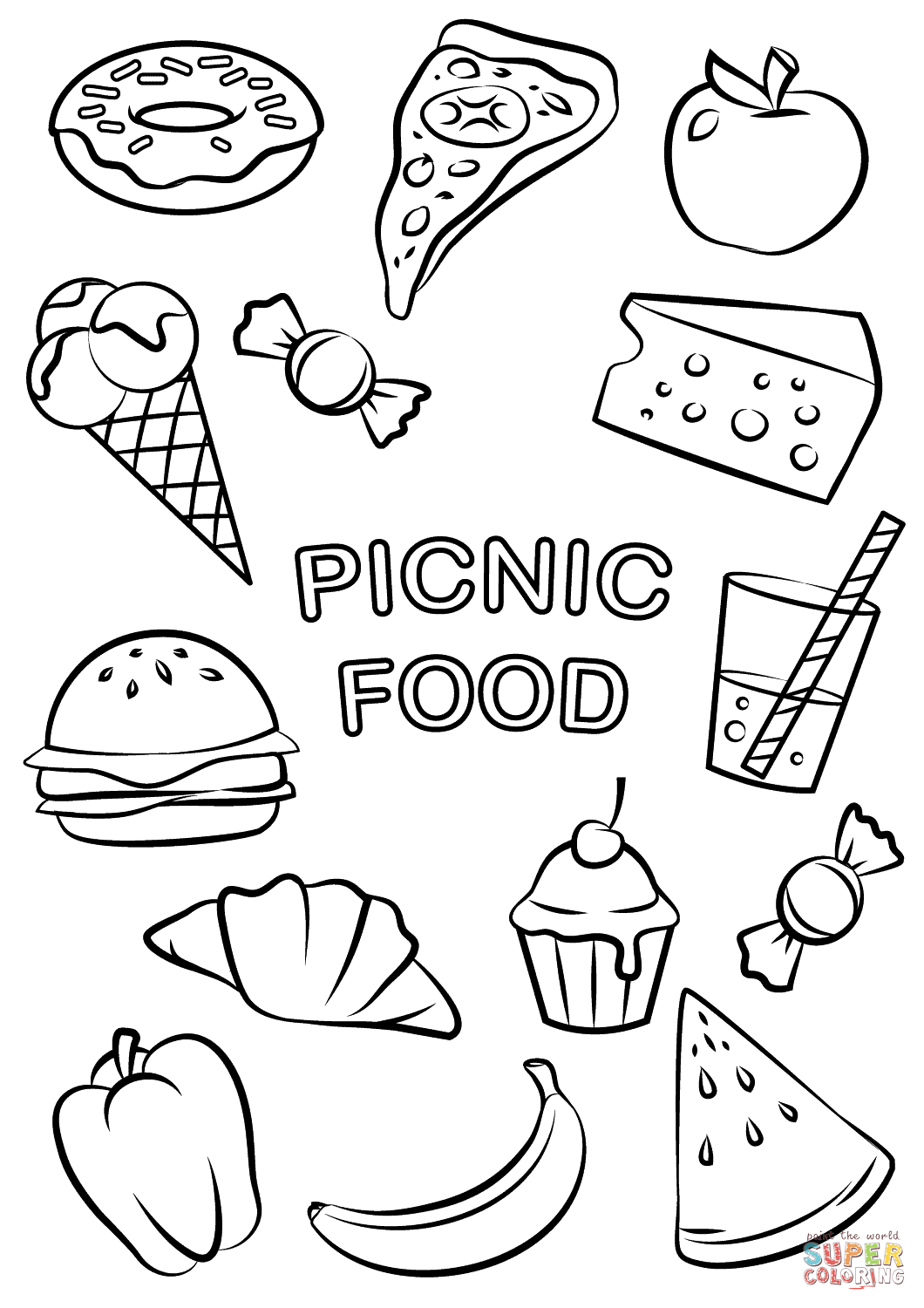 1060x1500 Nice Food Coloring Pages To Print For Preschoolers Adults