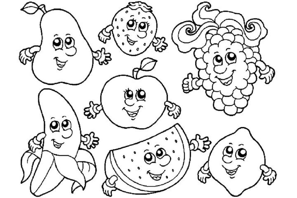 975x650 Fruit Coloring Pages With Faces Food Sunday School