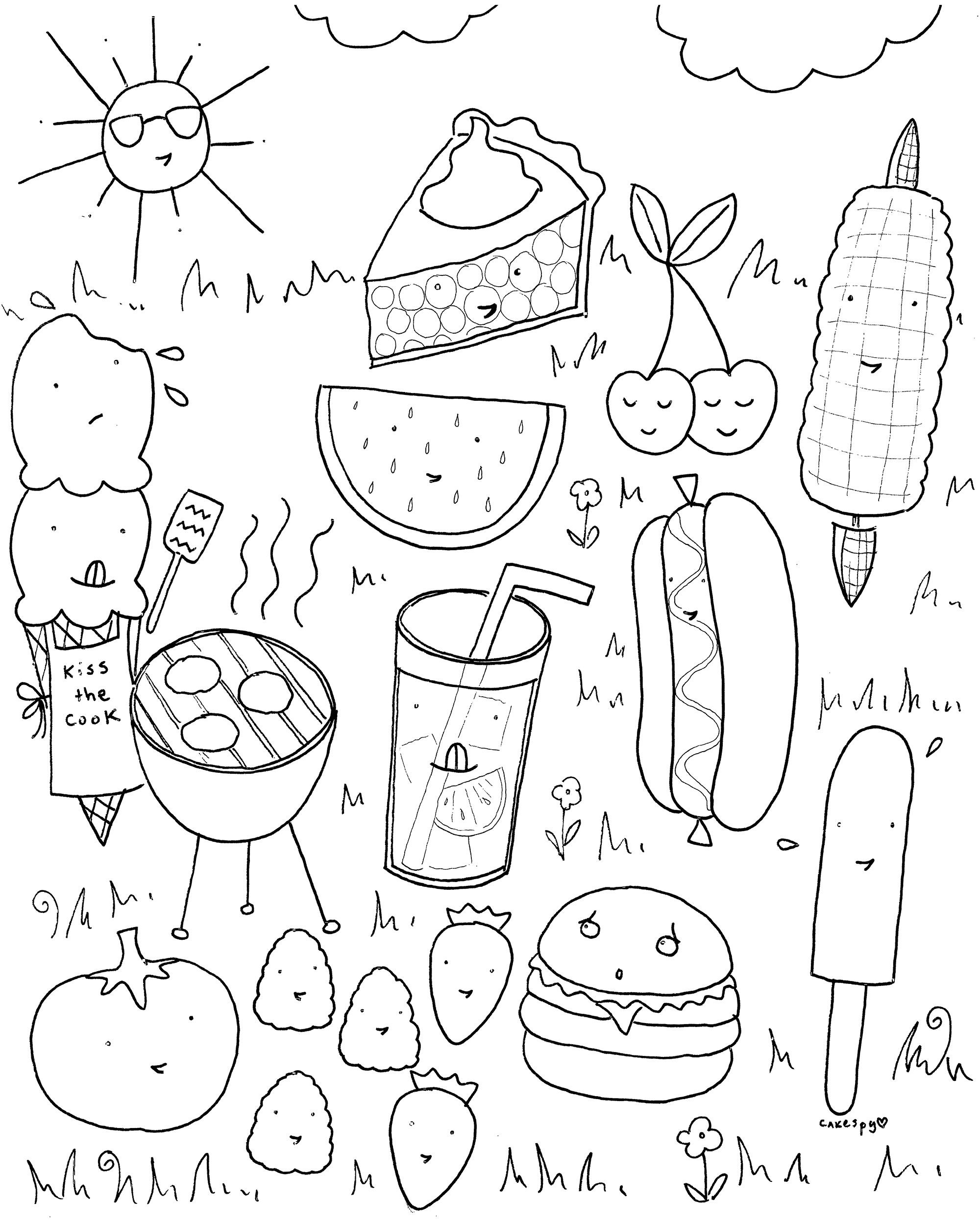 2000x2500 Coloring Pages Food With Faces