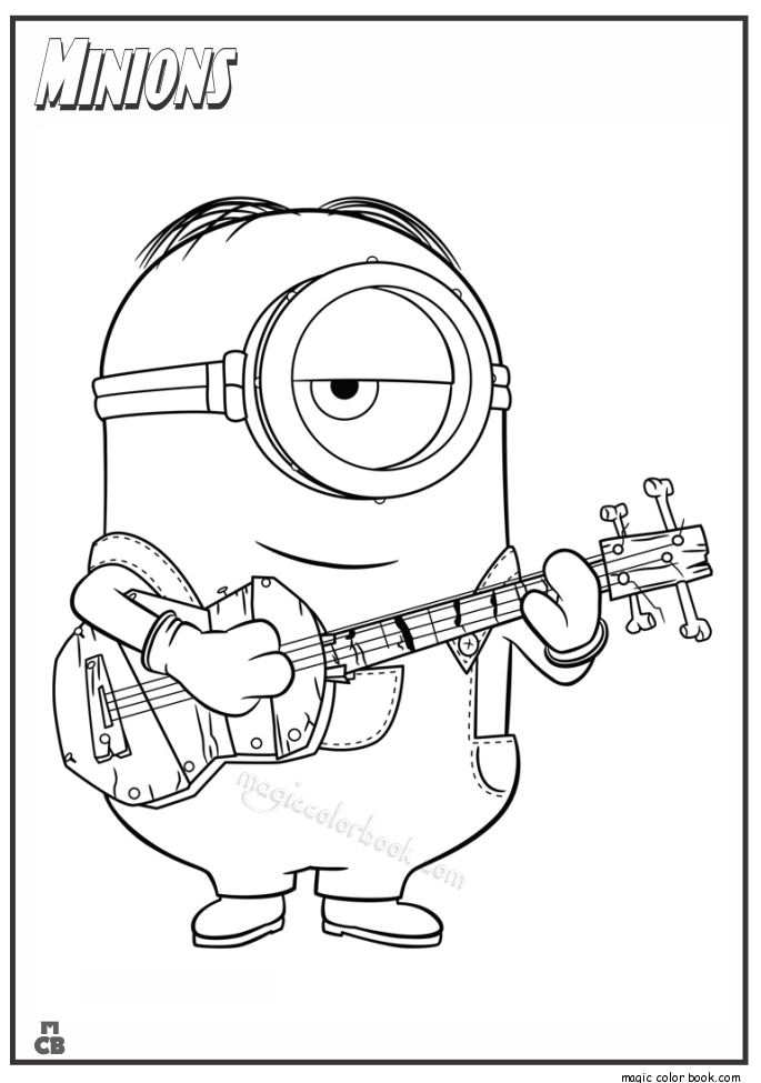 685x975 Minion With Guitar Coloring Pages