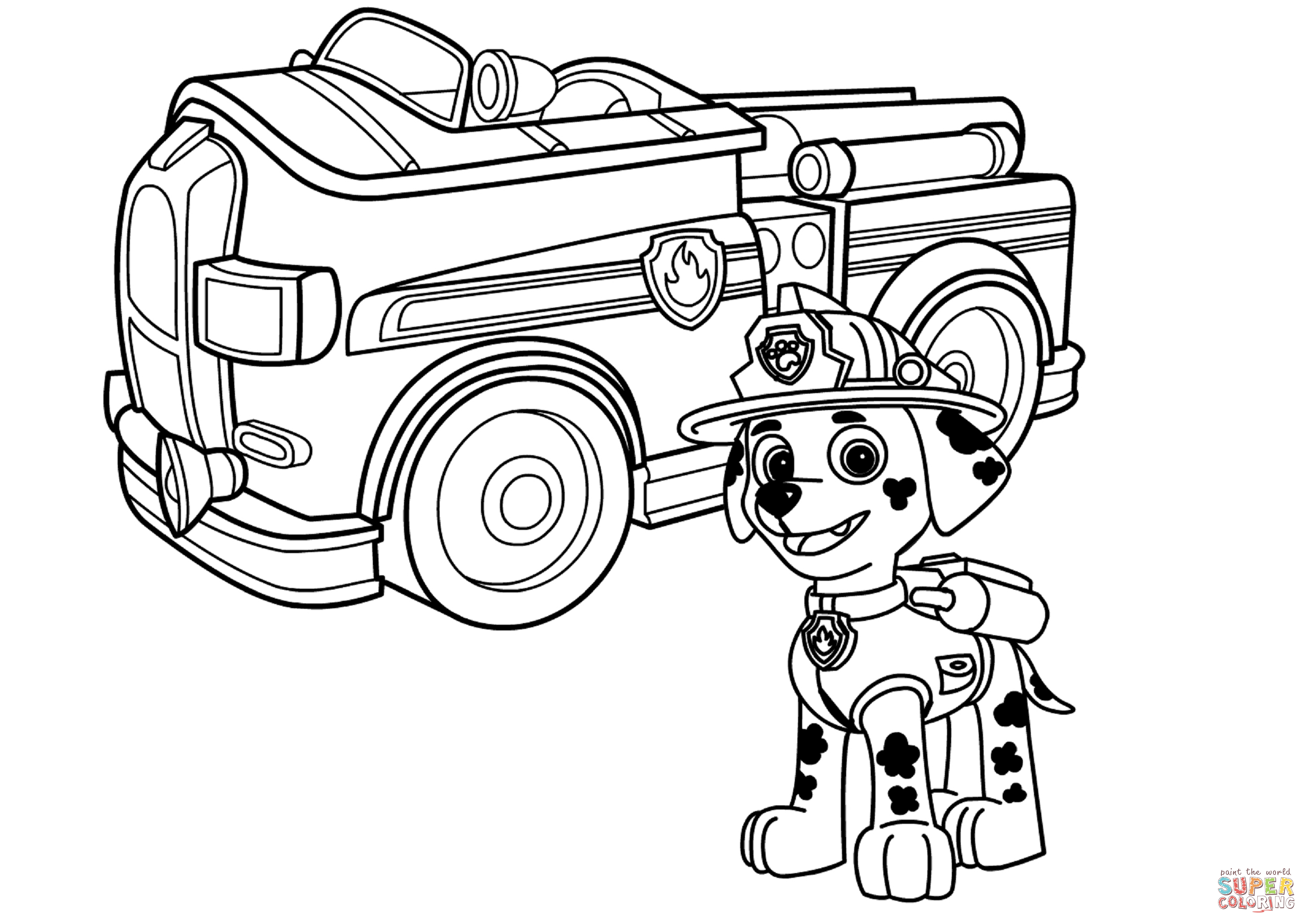 2465x1744 Neoteric Truck Coloring Pages Paw Patrol Marshall With Fire Page
