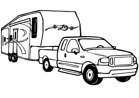 480x339 Truck And Rv Camper Trailer Coloring Page Free Printable Ford