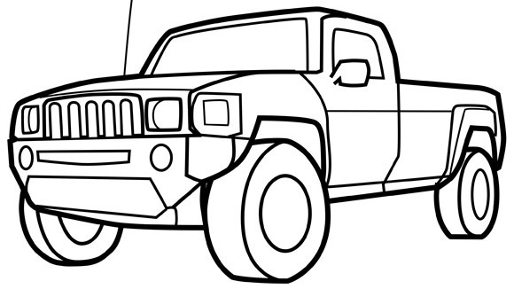 580x326 Pickup Truck Coloring Pages