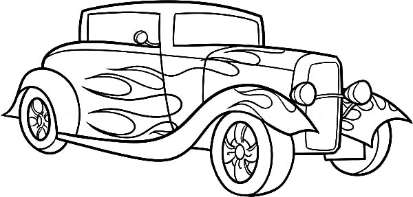 600x287 Ford Roadster Coloring Page Rat Rod Drawing