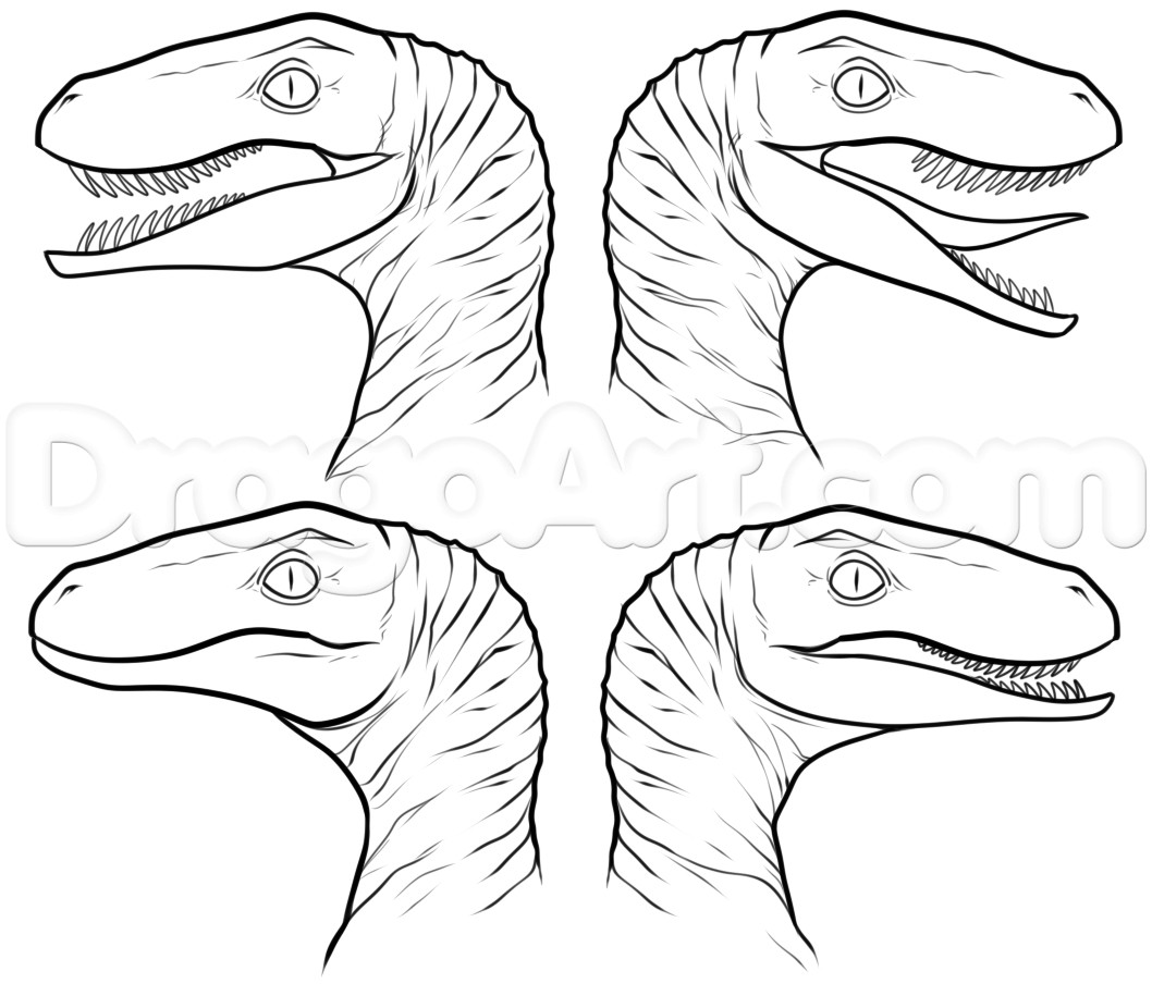 1058x915 Jurassic Park Raptor Coloring Pages Collection Free Sheets
