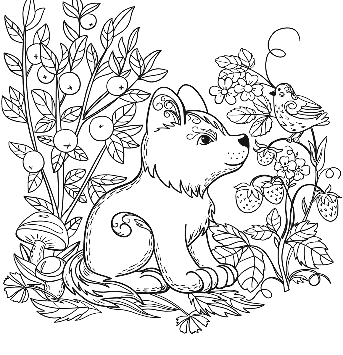 1159x1200 Drawn Forest Simple And Color Book Printable Coloring Pages Free