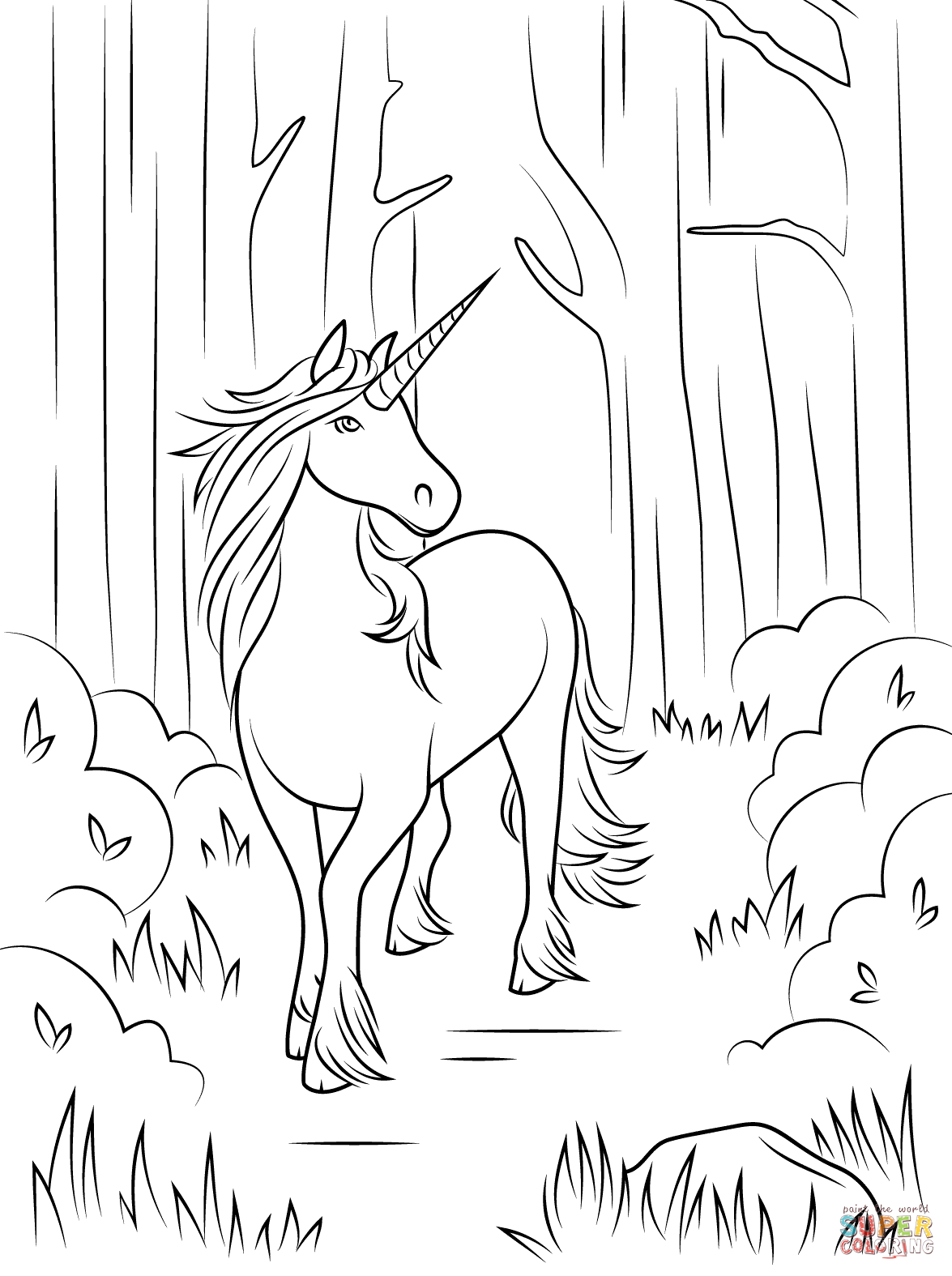 1175x1575 Free Forest Unicorn Coloring Page For Unicorn Coloring Page