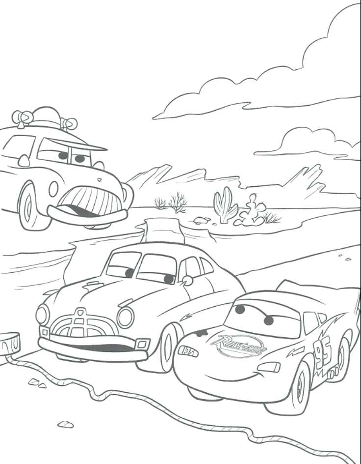 736x944 Pixar Cars Coloring Pages Forklifts Cars Racing Between Queen