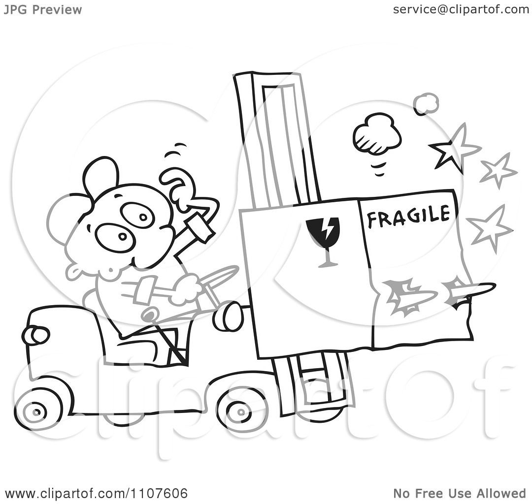 1080x1024 Clipart Outlined Distracted Forklift Driver Running Over A Fragile