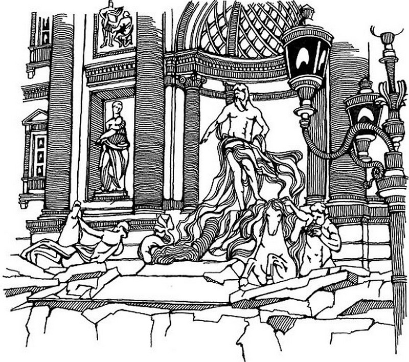 800x708 Adult Coloring Page Italy Fountain Of Trevi