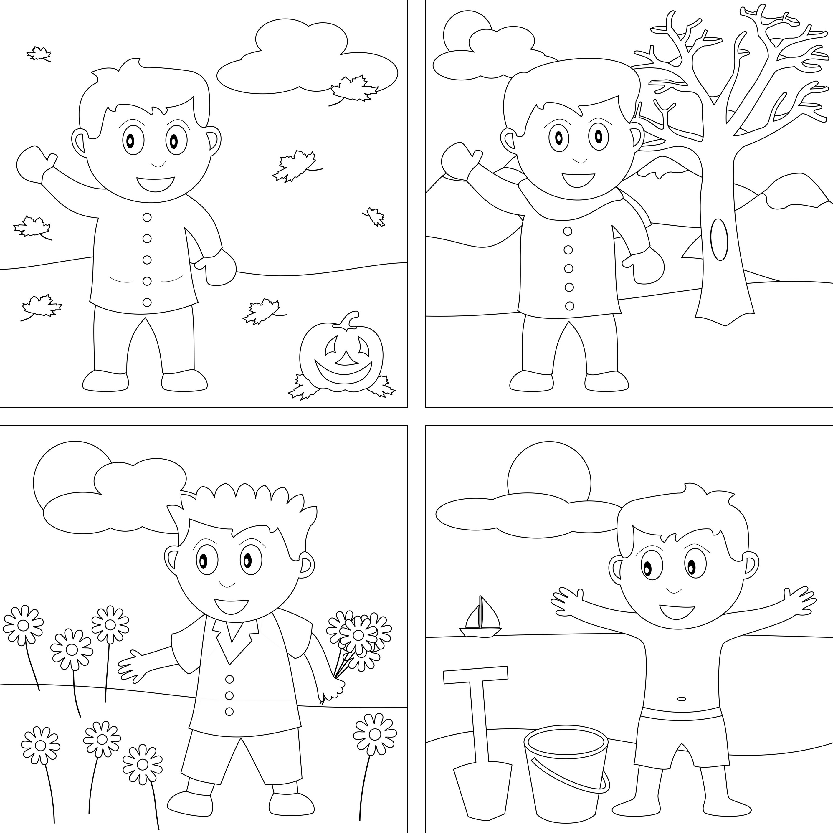 2828x2828 Coloring Pages Seasons Page Of The Four Throughout Arresting