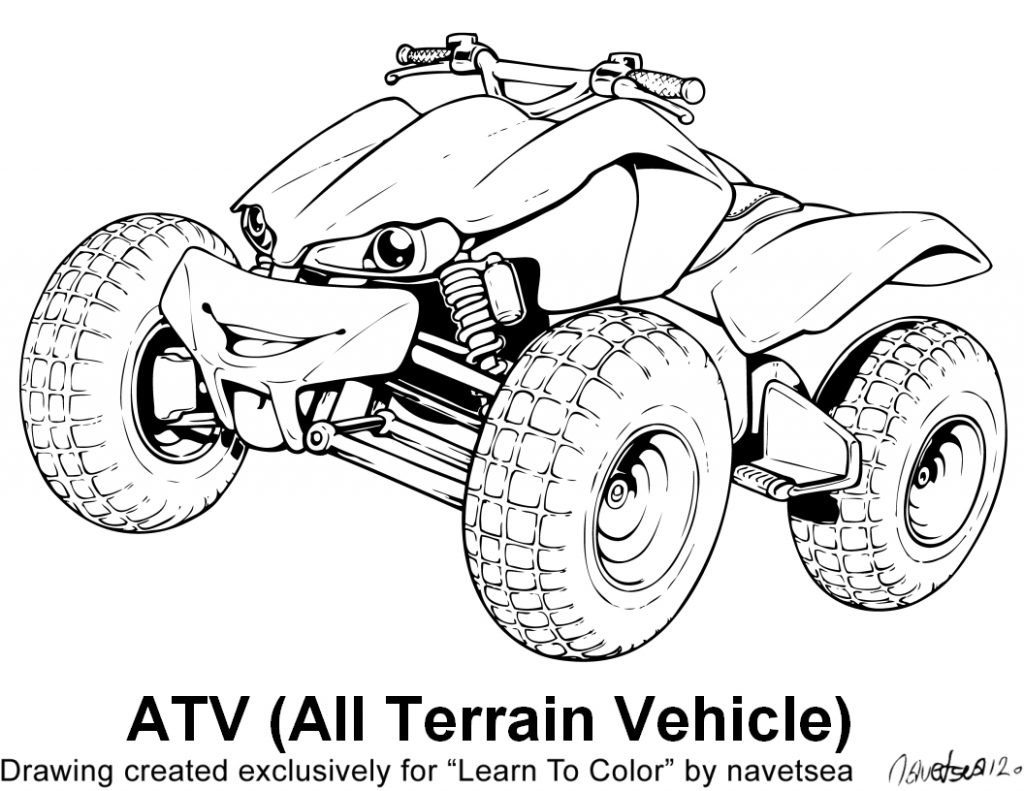 1024x791 Four Wheeler Coloring Pages High Definition Coloring Four