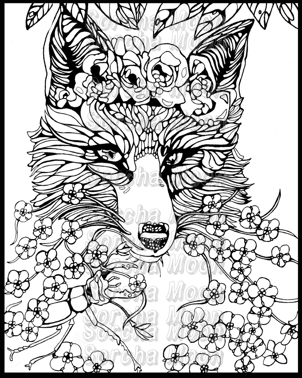 1200x1500 Fox Forget Me Nots Coloring Page For Adults Forget, Foxes And Etsy