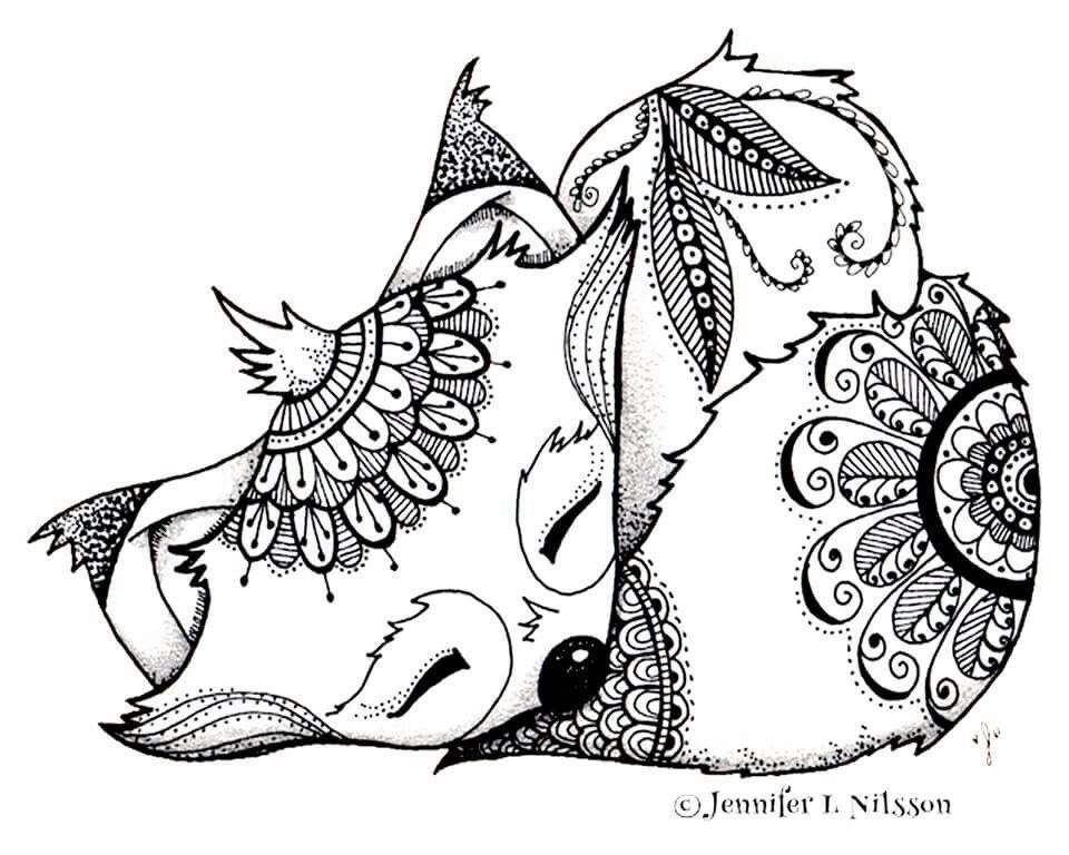 960x768 Fox Coloring Page Coloring Foxes, Adult Coloring