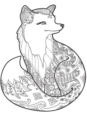 368x480 Zentangle Fox Coloring Page Print }