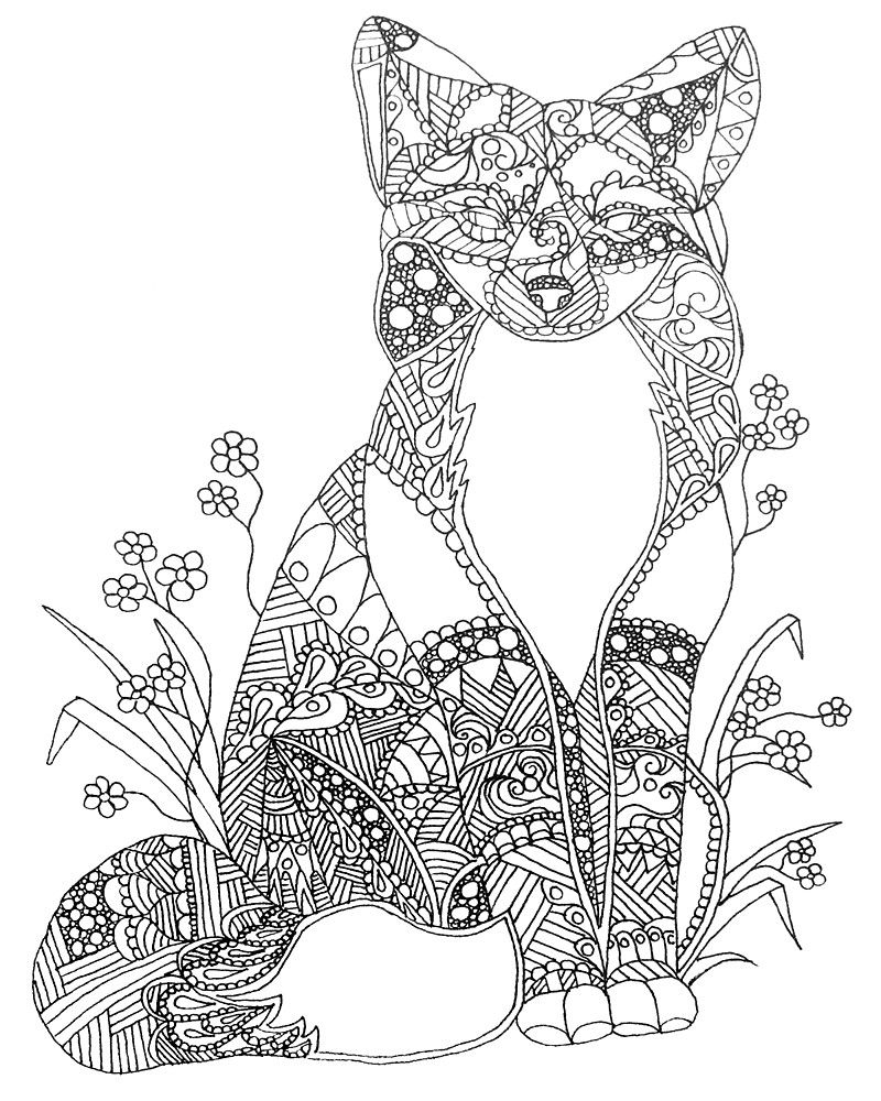 800x1000 Adult Coloring Pages Animals Fox Download
