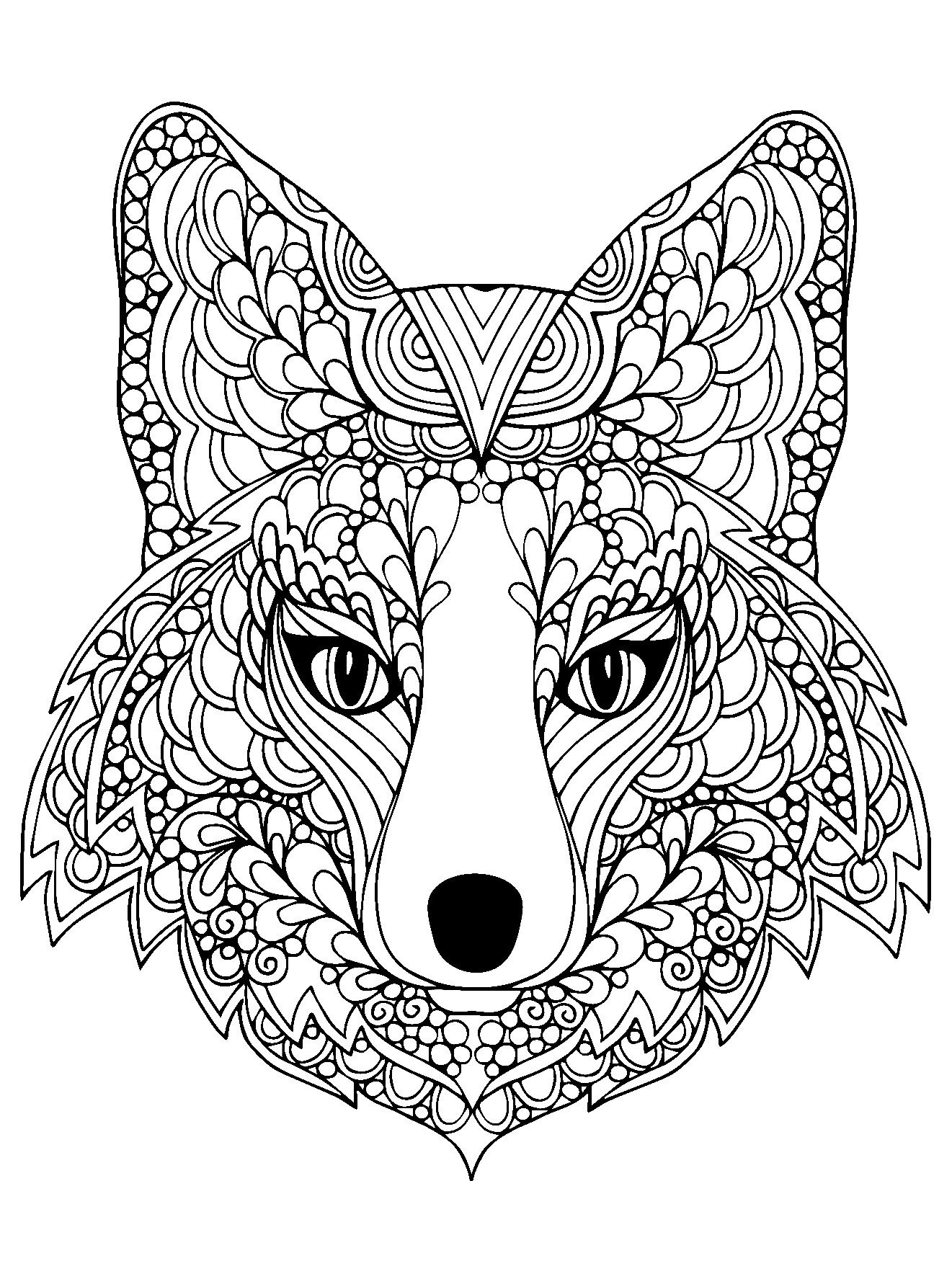 1321x1782 Coloring Page Beutiful Fox Head Free To Print To Print
