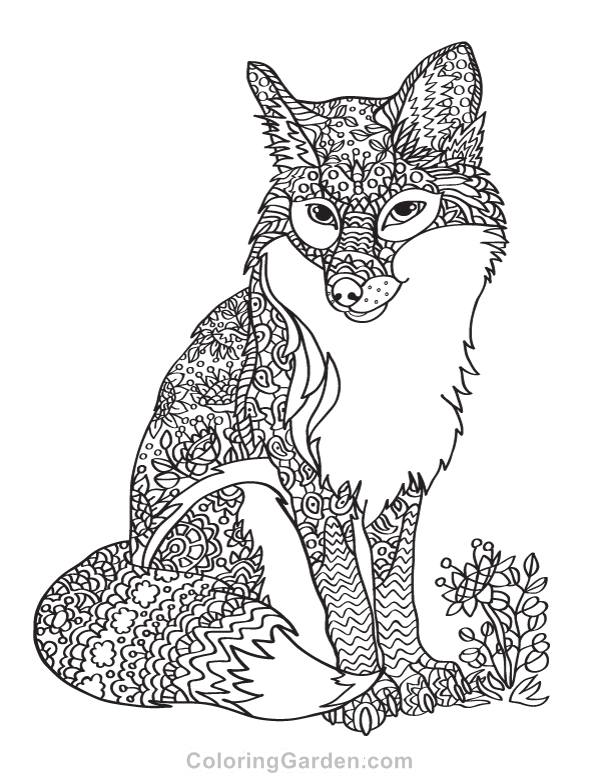 600x776 Fox Adult Coloring Page