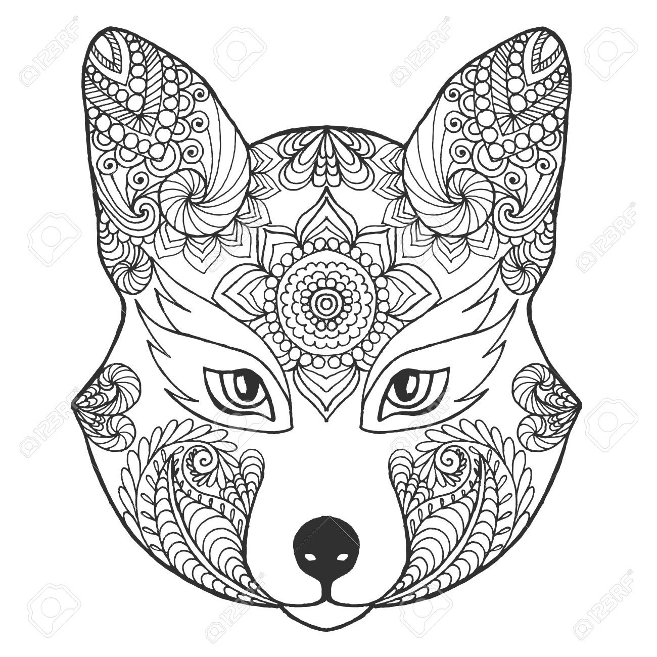 1300x1300 Fox Head Black White Hand Drawn Doodle Animal Ethnic Patterned