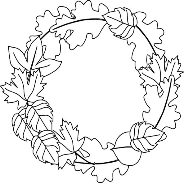 593x592 Frame Made Leaves Coloring For Kids