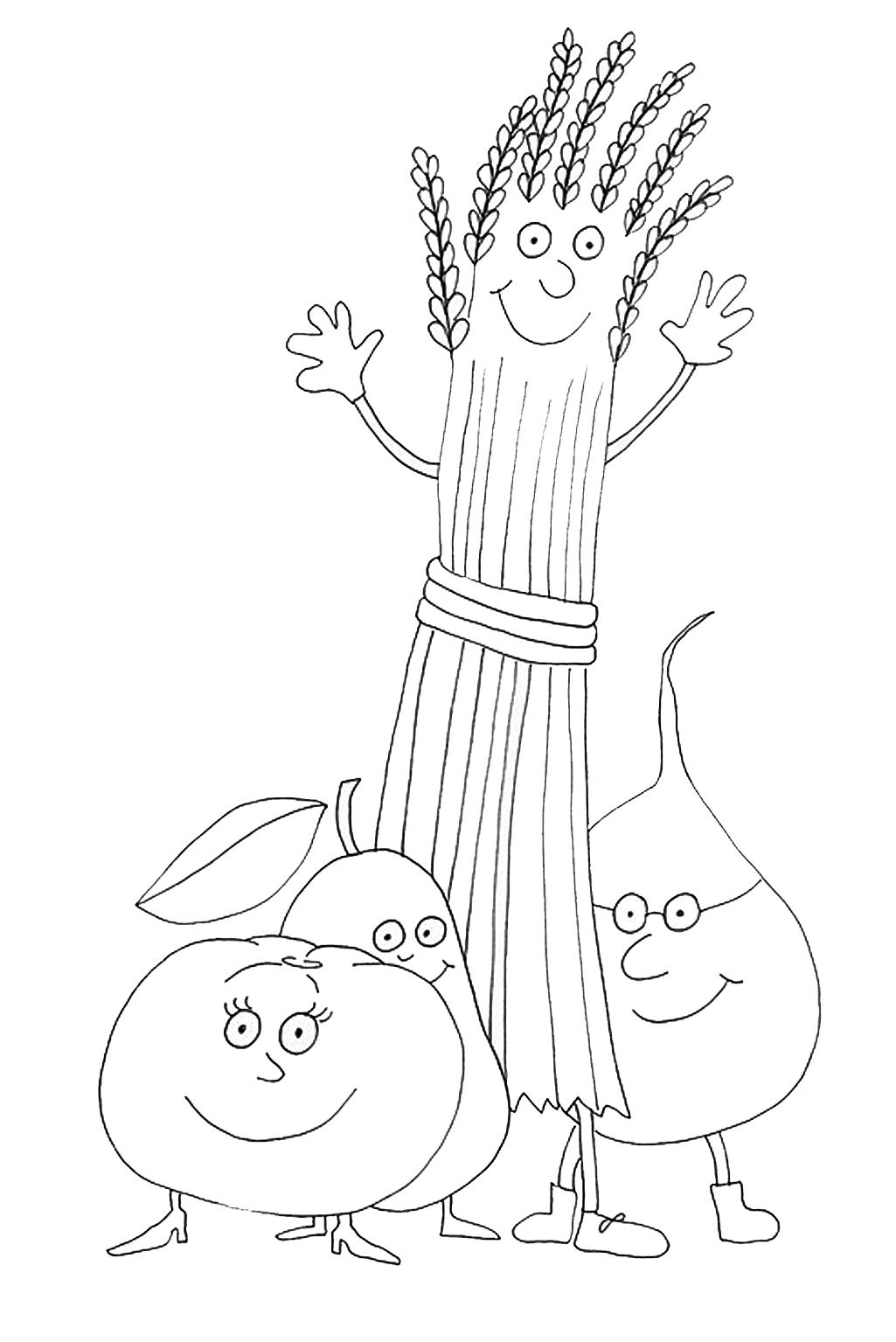 1025x1535 Thanksgiving Coloring Pages Tomato Pear Grain