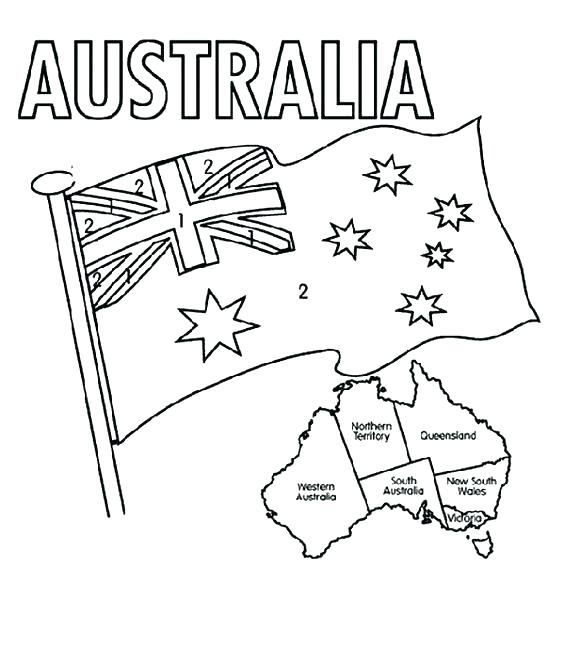 564x660 Flag Coloring Page Sheet Australian Picture Murs