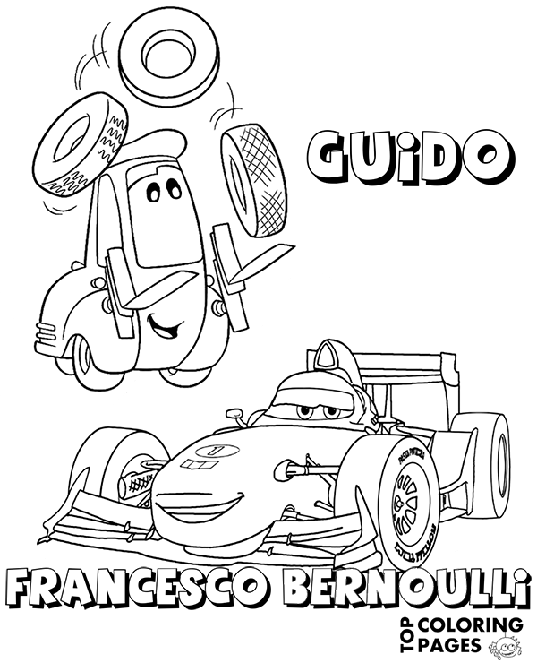 600x740 Cars Coloring Page Of Francesco Bernoulli And Guido