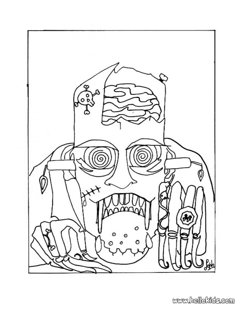 820x1060 Cool Scary Frankenstein Coloring Pages Hellokids Free Coloring