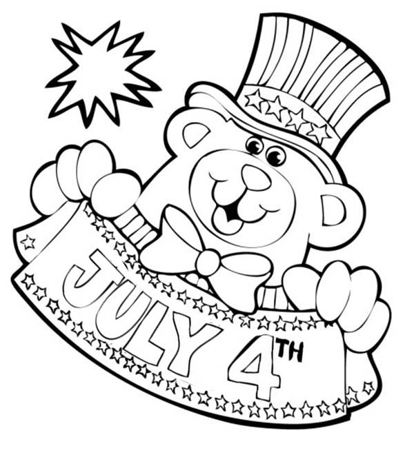 600x666 Bear Mascot For Independence Day Coloring Page