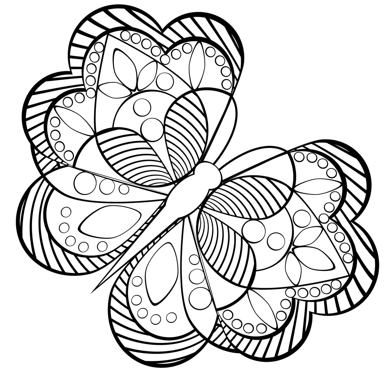 1333x1271 Adult Butterfly Coloring Page Butterfly