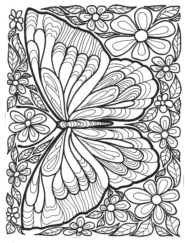 627x825 Butterfly Coloring Pages For Adults Adult Coloring Pages
