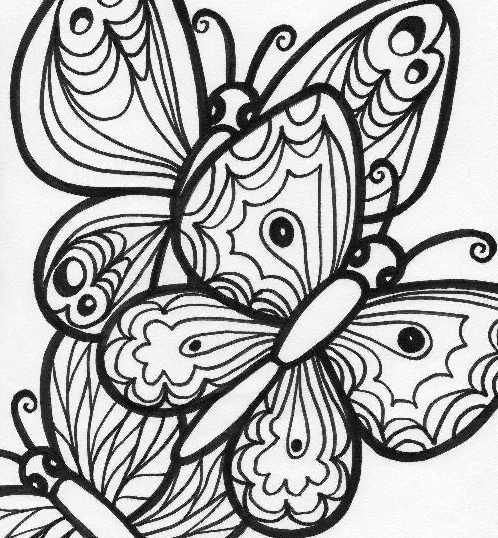 1000x1080 Beautiful Butterfly Coloring Page In Colouring Pages Wings Free