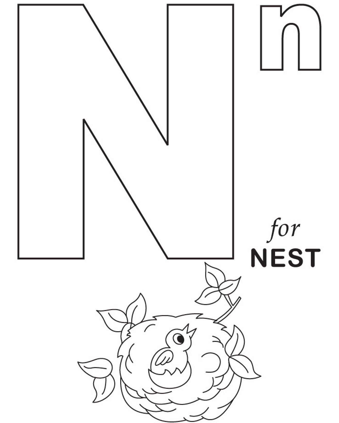 1314x1636 Free Alphabet Coloring Pages N For Nest Letters