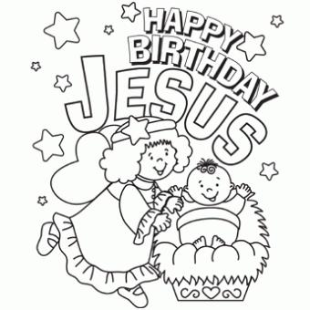 340x340 Happy Birthday Jesus Coloring Page