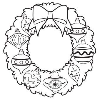 340x340 Ornament Wreath Coloring Page