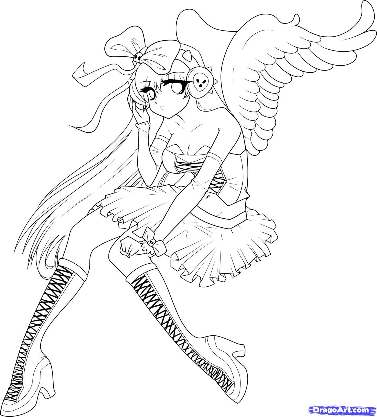 1300x1436 Anime Angel Coloring Pages