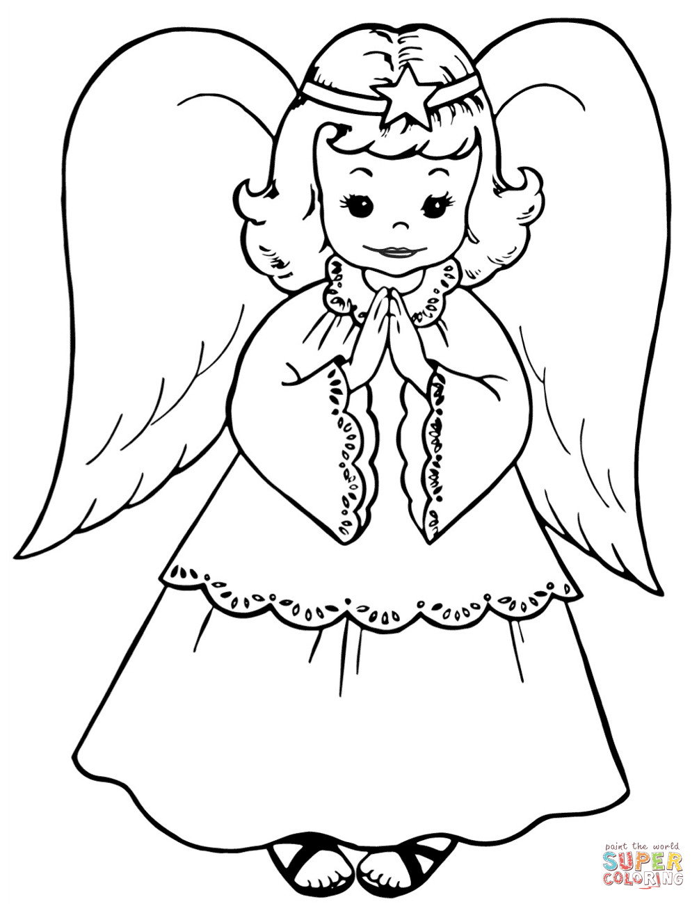 1005x1300 Christmas Angels Coloring Pages Free Stunning Page Acpra