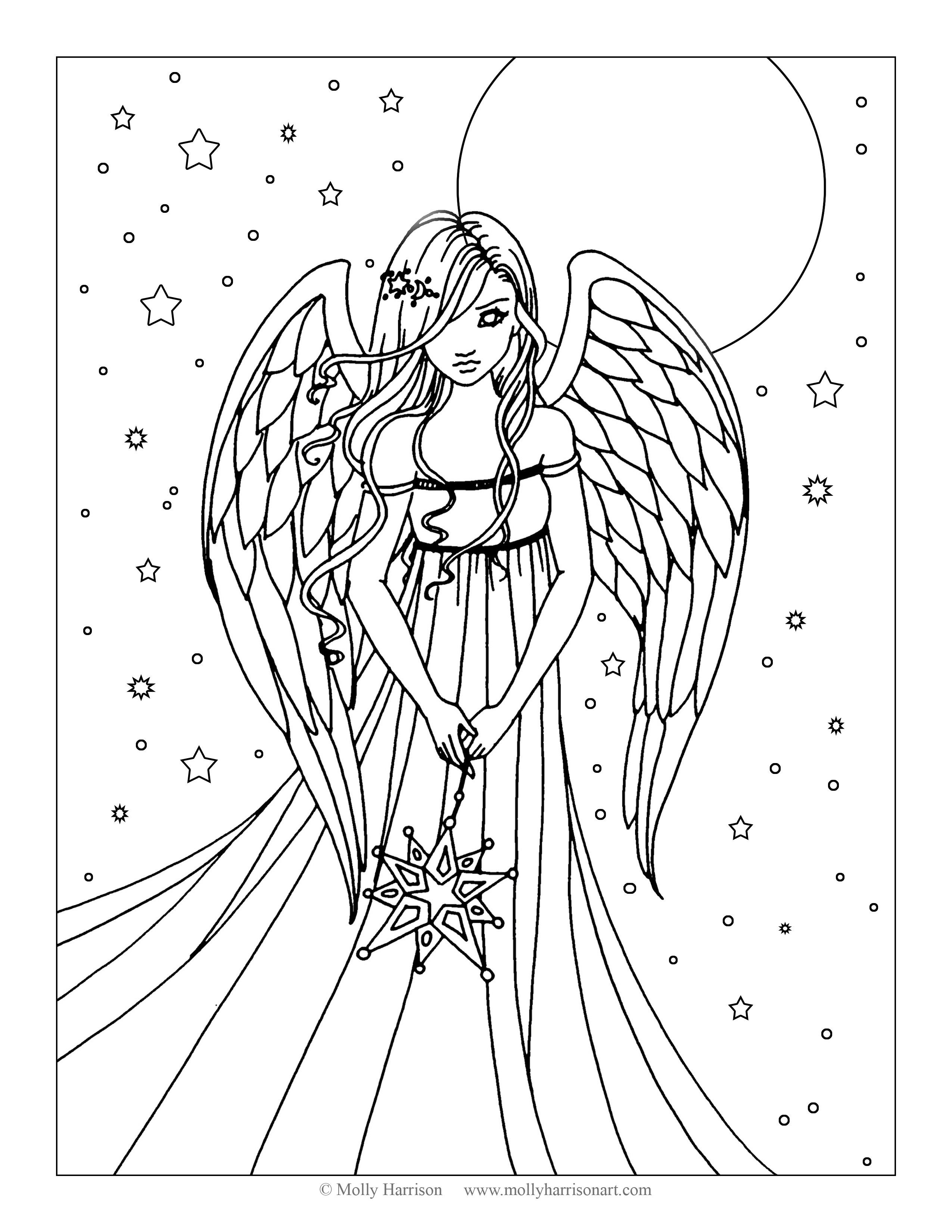 2550x3300 Free Angel Coloring Page
