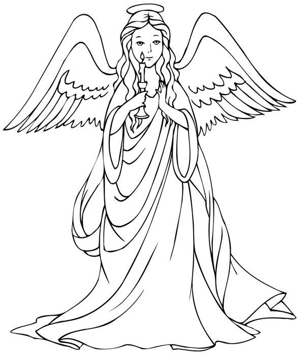 600x708 Free Printable Angel Coloring Pages For Kids Angel, Free