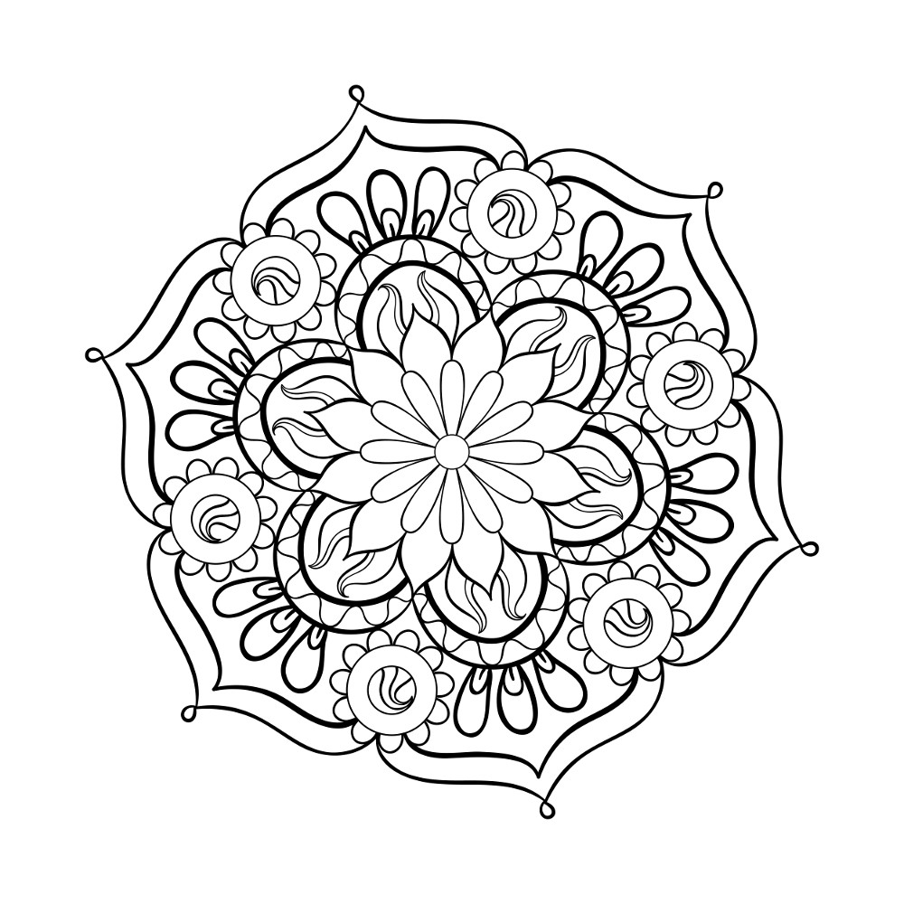 1000x1000 Cosy Adult Free Coloring Pages Woman Flowers Zen And Anti Stress