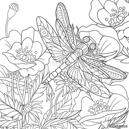 500x500 Zentangle Stylized Cartoon Dragonfly Insect Is Flying Around Poppy
