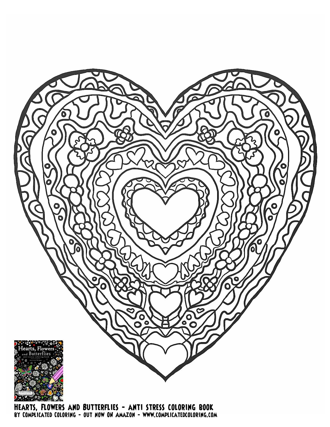 1275x1650 Adult Coloring Pages Butterfly Heart Download