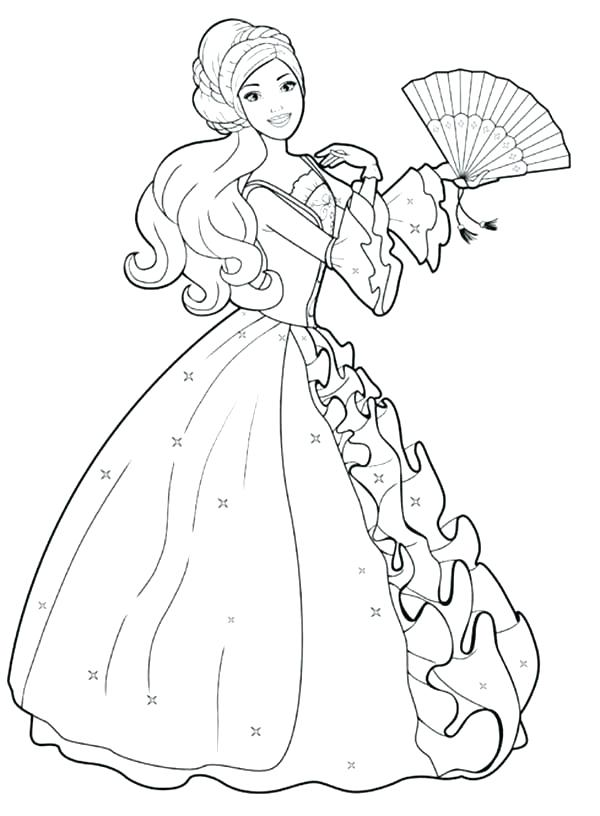 600x816 Barbie Coloring Pages Long Haired Barbie Coloring Pages Barbie
