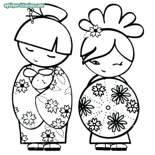 500x500 Kimono Doll Bookmark Coloring Page Printable Coloring Bookmarks