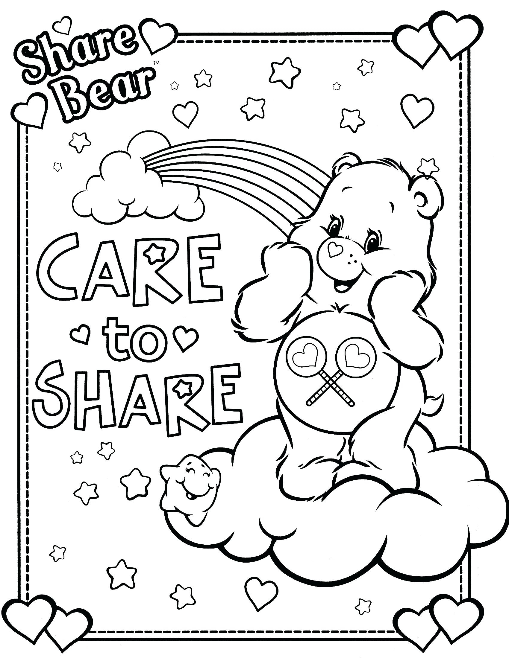 1700x2200 Care Bears Coloring Pages Printable Printable Coloring Page Free