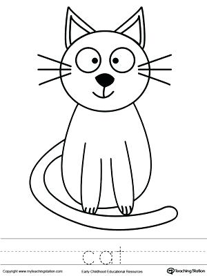 300x400 Cat Coloring Pages Cat Coloring Page And Word Tracing Free Cat