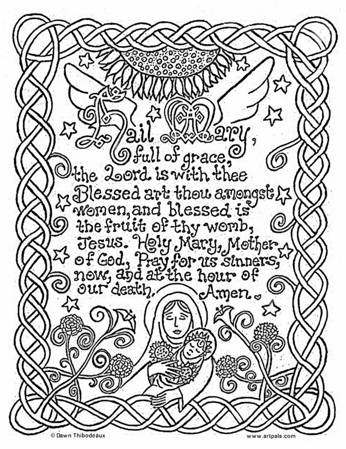 687x891 Pray Coloring Pages Free Catholic Printables Hail Mary Catholic