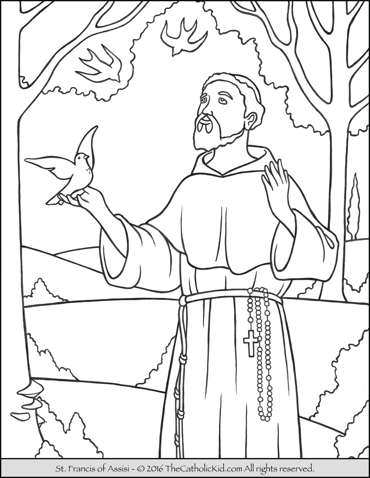 1275x1650 Saint Francis Coloring Page The Catholic Kid Pages And Games