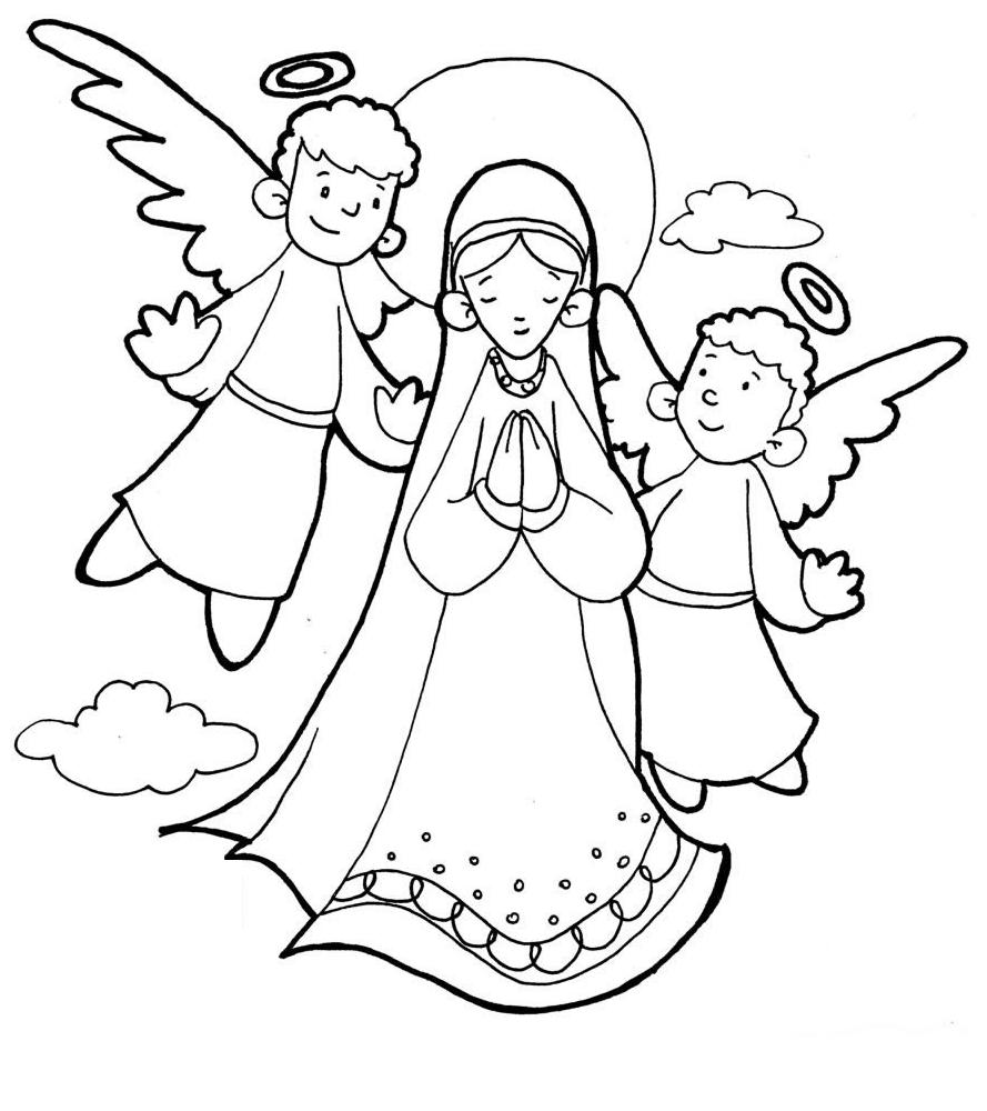889x1000 The Assumption Of Mary Catholic Coloring Page
